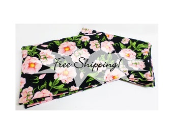 Pillowcases Floral Dramatic Pink on Black Set of 2 Standard Cases