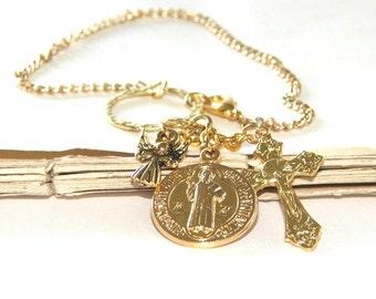 Saint Benedict - Saint On A Chain / Bag Charm, Key Chain, Rear View Mirror Charm