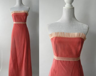 Retro Pink Gown, Vintage Pink Strapless Dress, Vintage Pink Bridesmaid Dress, Retro Pink Prom Dress, Strapless Pink Gown, Formal Pink Dress