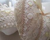 Set of Two Shabby Hearts, White and Ecru