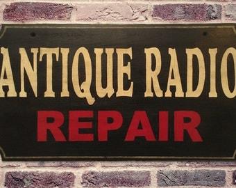 Antique Radio Repair Advertising Sign - Vintage Retro Home Office Decor