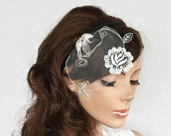 Bridal Head Piece Dainty Tulle Blusher Veil Rhinestone Wings, Floral Hair Fascinator Wedding Hair Accessory Crystal  Romantic Summer Wedding