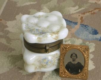 C.F. Monroe Art Glass Wavecrest Opal Ware Dresser Box Egg Crate/Ormolu Decoration