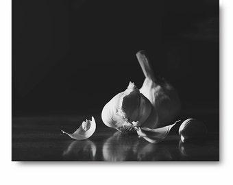 Black and White Photography, black and white kitchen print, dramatic art print, black and white art, home decor, garlic print, kitchen decor