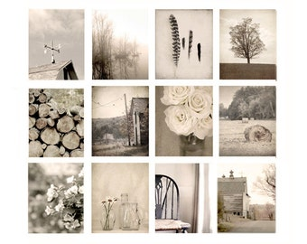 Wall Art Photo Set, farmhouse photography, rustic decor, fine art photography, cottage chic, brown, photography, art print, set of 12