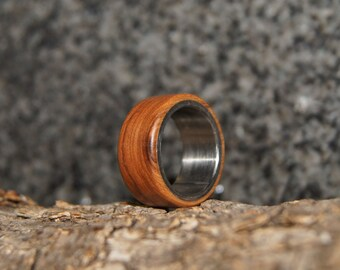 Size 7 - olive wood and stainless steel ring