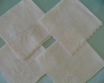 Handkerchief Assortment of 4, Fine Cotton Hankies, Embroidered Hanky, Drawn Work Hanky, Applique Hanky, Collectible Assortment