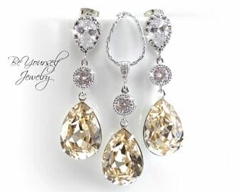 Champagne Bridal Earring Pastel Teardrop Bride Necklace Swarovski Crystal Light Silk Wedding Jewelry Sterling White Crystal Bridesmaid Gift
