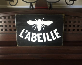 L'ABEILLE French Country Chic Bee Queen Royal Sign Plaque Hand Painted Wooden You PIck Color