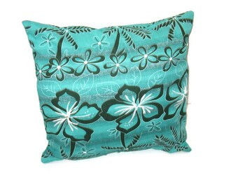 Turquoise Tropical Floral Print Pillow  Cover Beach Decor