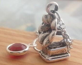 Silver Gramophone Necklace. Swarovski Birthstone. Personalized Gift. Birthstone Necklace. Gramophone Pendant. Silver Gramophone Charm