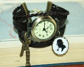 Mr Holmes Leather Bracelet Watch Wristwatch brown bronzecolored - england mystery nostalgia gift sister friend mother sherlock