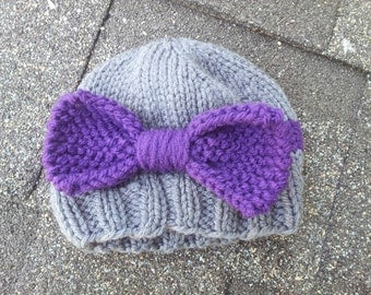 RTS 3-6  month Bow Hat, Knit Photo Prop, Baby Girl Hat, Photo Prop, Infant Beanie