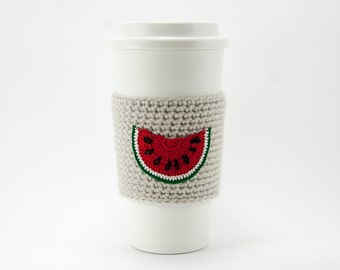 Coffee Cozy, Cup Cozy, Crocheted, Red Watermelon slice, Sleeve, linen colored sleeve, summer snack, gift for mom
