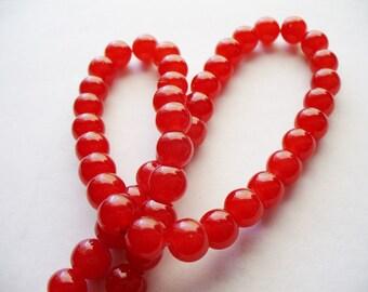 Jade Glass Beads Cherry Red  Round 8MM