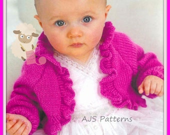 "PDF Knitting Pattern for a Baby or Little Girls Ruffled Bolero To Fit 16"" to 26"" Chests"