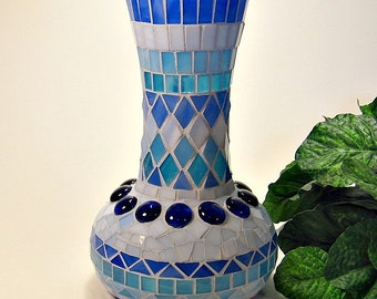 Stained glass mosaic vase turquoise blue