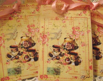 Tea Time Gift Tags Shabby Chic Look Pastel Pink Roses Party Favor Tags