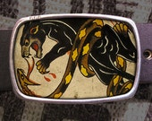 Panther Fight Tattoo Belt Buckle, Vintage Inspired 514
