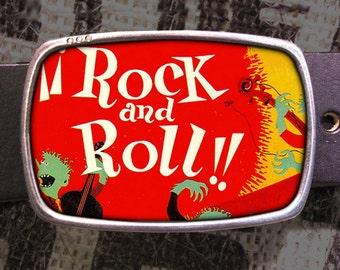 Rock N Roll Belt Buckle, Vintage Inspired, Pop Art 624