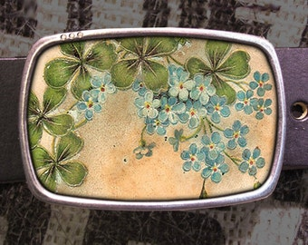 St. Pattys Lucky Clover Belt Buckle, Vintage Inspired 545