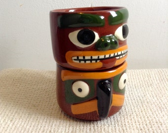 Pair Totem Coffee Cups.  Hinton Blaisdell Pottery, Port Orchard, WA. Vintage 1950.  Tiki Bar Decor.