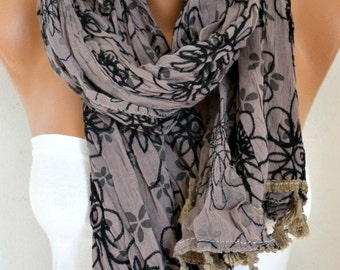 ON SALE - Taupe Embroidered Floral Cotton Scarf, Fall Scarf, Teacher Gift Shawl  Cowl  Gift Ideas For Her Women's Fashion Accessories