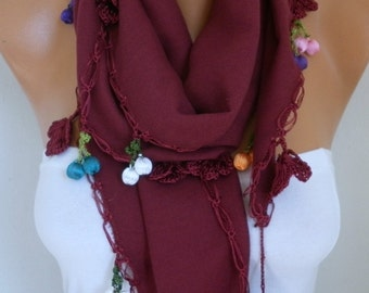 Burgundy Pashmina Scarf,Fall Winter Wedding Scarf, Bridal Accessories Cowl Gift Ideas For Her Women's Fashion accessories Scarves