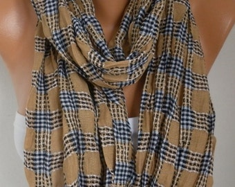 Camel Cotton Tartan Unisex Scarf, Teacher Gift Summer Shawl, Plaid Oversized Cowl,Gift Ideas For Her For Men Fashion Accessories