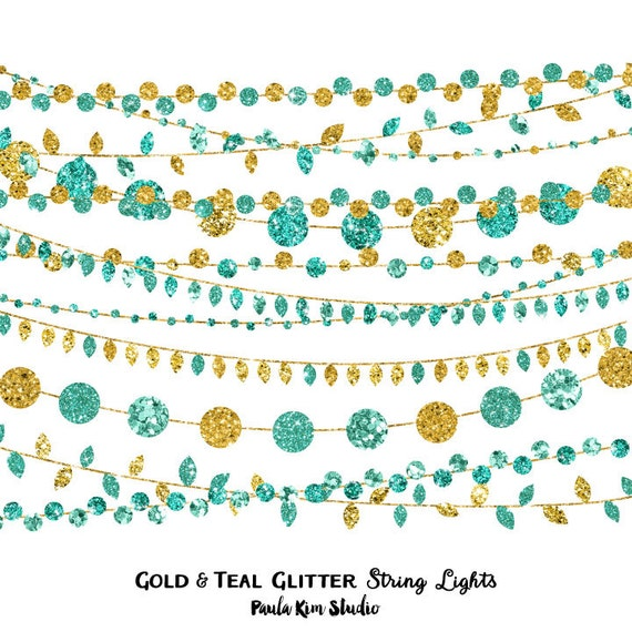 80% OFF SALE Gold and Teal Clipart Glitter String Lights Clip