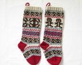Pattern Fair Isle Christmas Stockings Gingerbread Man and Snowflake Stranded Knitting