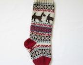 Knit Dog Christmas Stocking Holiday Xmas Christmas Stocking Fair Isle Traditional Ornament Handmade (Ready to Ship) LBrR