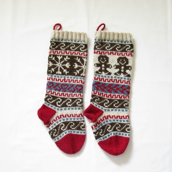 Pattern Fair Isle Christmas Stockings Gingerbread Man and