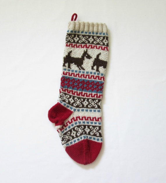 Knit Dog Christmas Stocking Holiday Xmas by SantasSockCentral