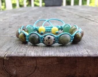 Honor Shamballa Bracelet, Natural Stone, Beaded Bracelet, Gemstone Bracelet, Elements of Nature, Elephant Charm,