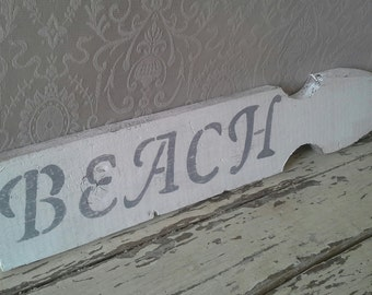 Beach sign, wooden sign, picket fence, weathered sign, Stenciled sign, gray and white,  wall decor, beach decor, summer decor