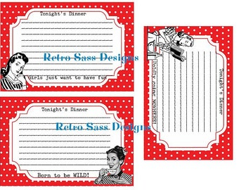 RETRO inspired recipe cards RED polka dots SET of 3-spring party favors-girls night out-bridal favors