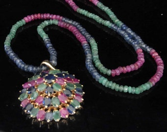 Vintage Ruby Emerald Sapphire 14k Gold Necklace Pendant String Strand Estate