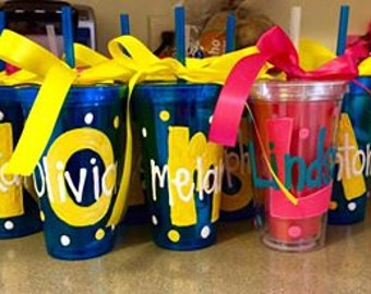Plastic Hand Painted Tumblers with lid and straw