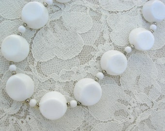 Simple Vintage White Necklace, good for summer and adding to other necklaces