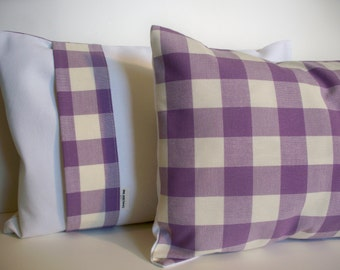 Purple Check Pillow Purple Pillow Cover Purple Buffalo Check Pillow Cover Purple Gingham Pillow 16 18 20