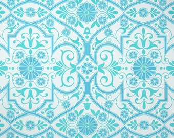 Vintage Wallpaper by the Yard 70s Retro Wallpaper - 1970s Aqua Blue and White Geometric Damask
