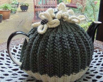 Dark Grey Tea Cosy with Cream flowers and Polka Dot Buttons