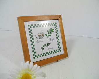 Vintage Ceramic Tile with Hand Painted Herbs Framed in Wooden Raised Trivet - Retro Hand Detailed Decorative Pottery Hot Pad Made in Mexico