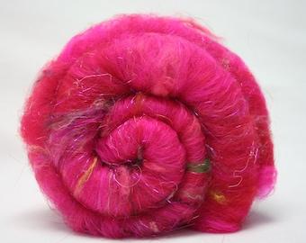 Batt Merino Wool Mulberry Tussah Pulled Silk Noil Angora Bamboo Angelina 1.8 oz 51g OOAK Ready to Ship International - Ruby Lips