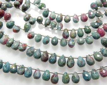 Ruby zoisite Gemstone Briolette Beads Tear Drops  Shape  Size - 5X7MM8'' AAA Quality Wholesale Price
