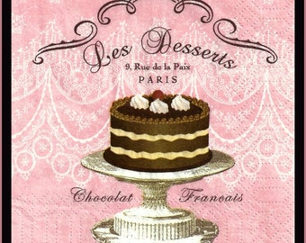 French chocolate cake, 4 Decoupage Paper Napkins, 3 ply 25cm cocktail napkins