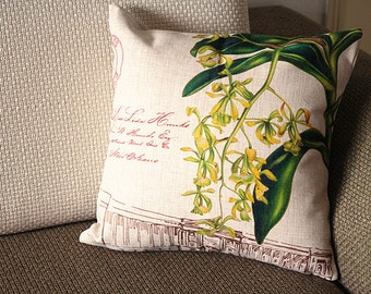 "Linen Pillow - beige green yellow orchid Floral Pillow Cover -18""  22""  24""  Decorative Cushion Cover Throw Pillow cover 111"