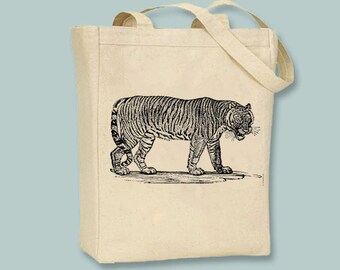 Vintage Tiger Illustration Canvas Tote - Selection of sizes available, image in ANY COLOR