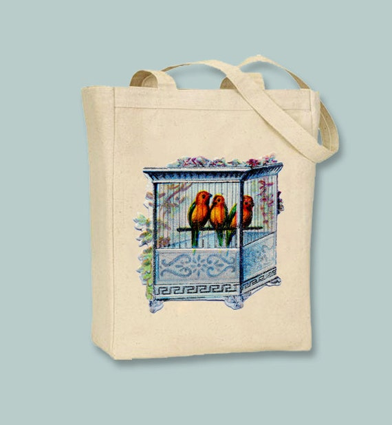 Vintage Orange Birds in Beautiful Cage illustration on Natural or Black Canvas Tote -- Selection of sizes available